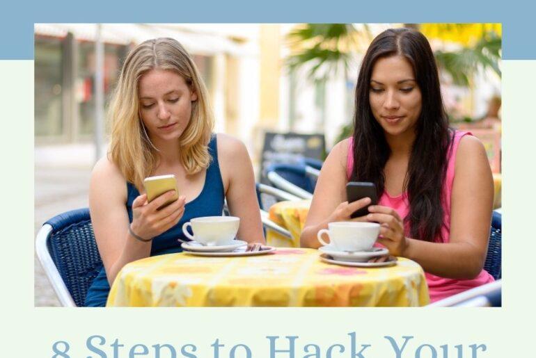 women distracted on phones